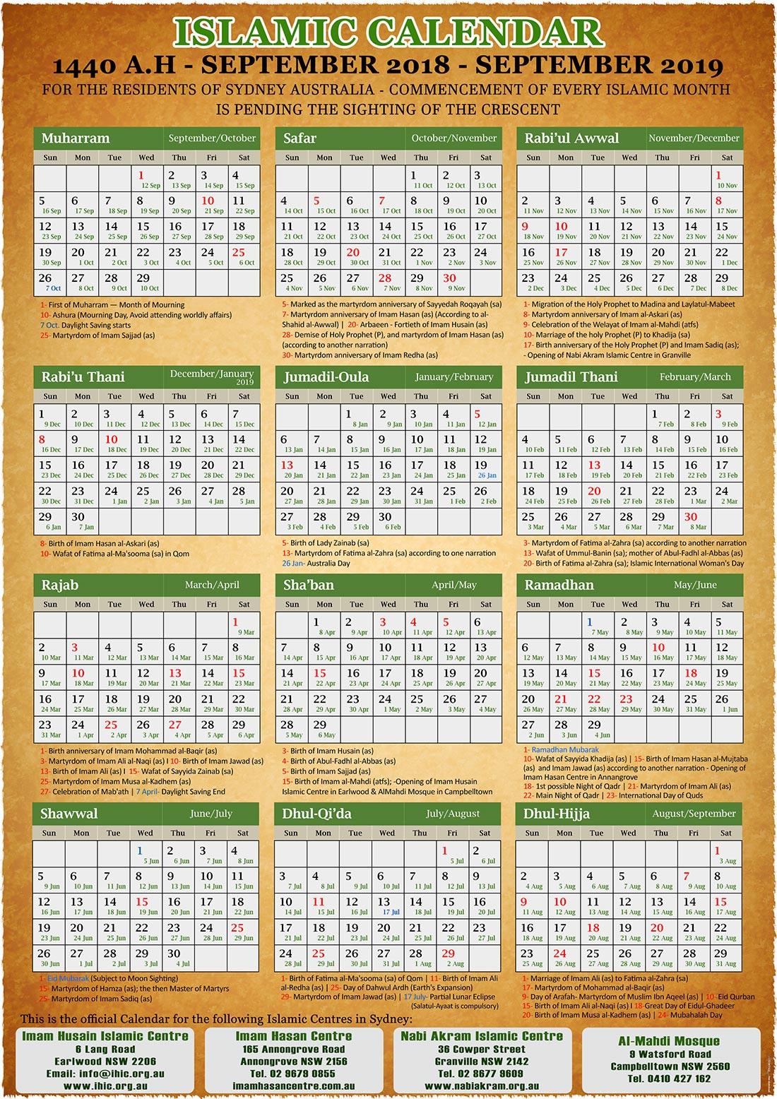 annual islamic calendar 1440 ah 2019
