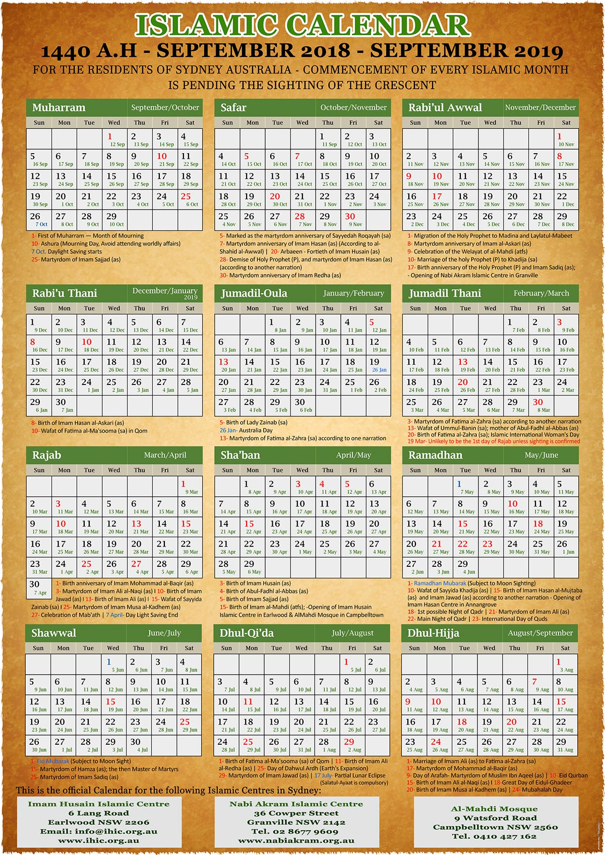 Islamic Calendar For 2019 Annual Islamic Calendar 1440 A.H. (2019) – Imam Husain Islamic Centre